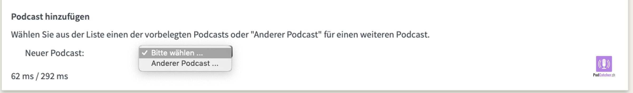 Einen neuen Podcast hinzufügen