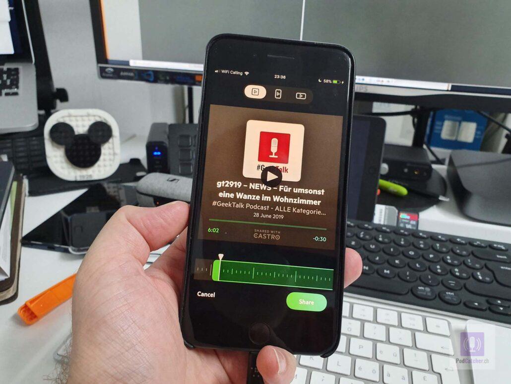 Clip Sharing - Audioschnipsel teilen aus Castro heraus