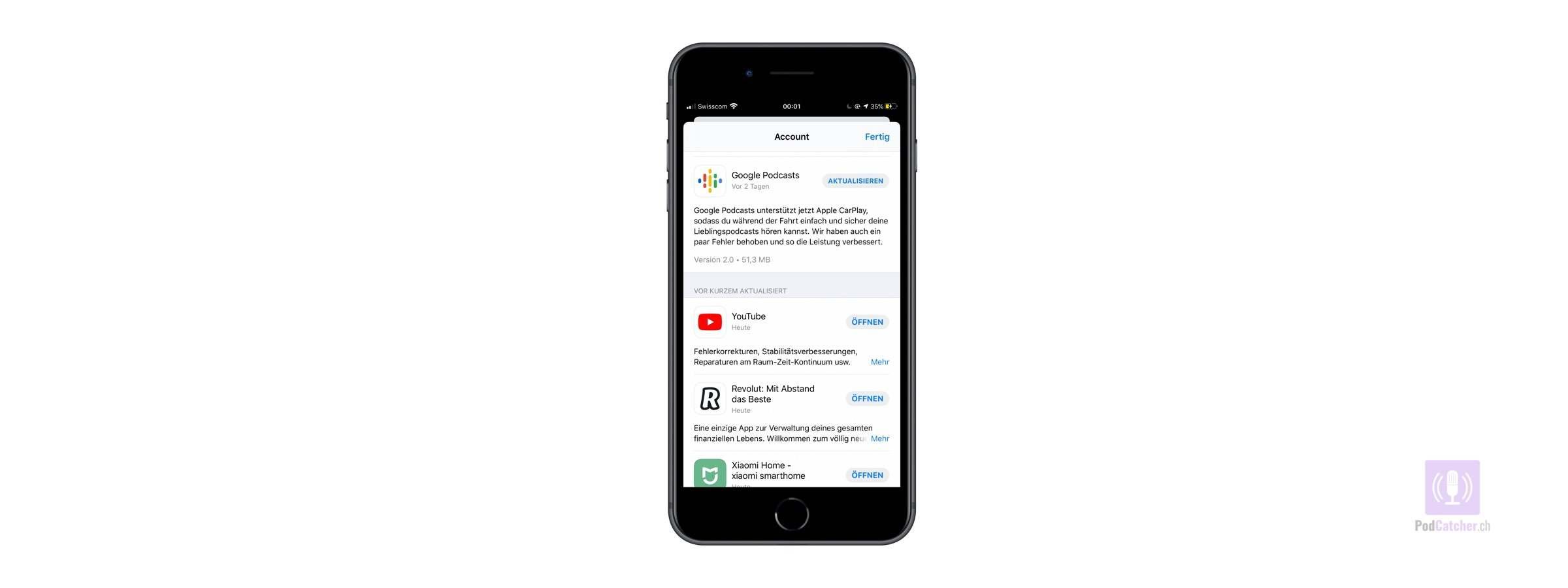 Google Podcasts auf Apple CarPlay erhältlich