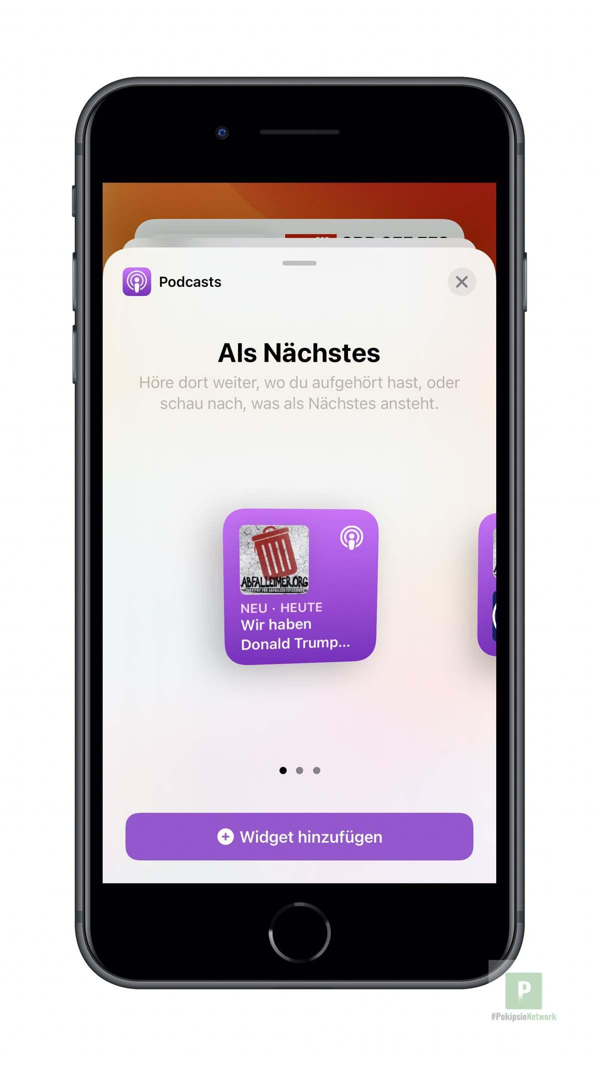 Apple Podcasts - Widgets aussuchen klein