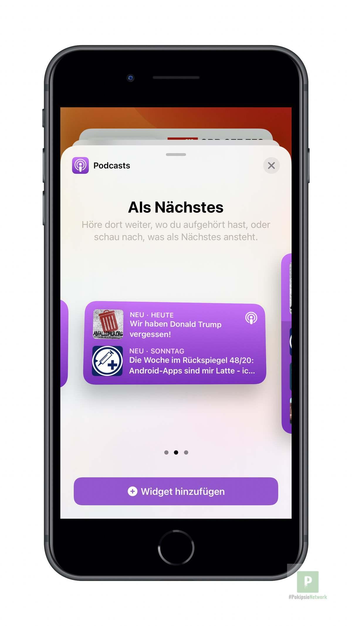 Apple Podcasts - Widgets aussuchen mittel