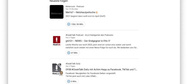 Neuer Abo-Feed – Google Podcasts