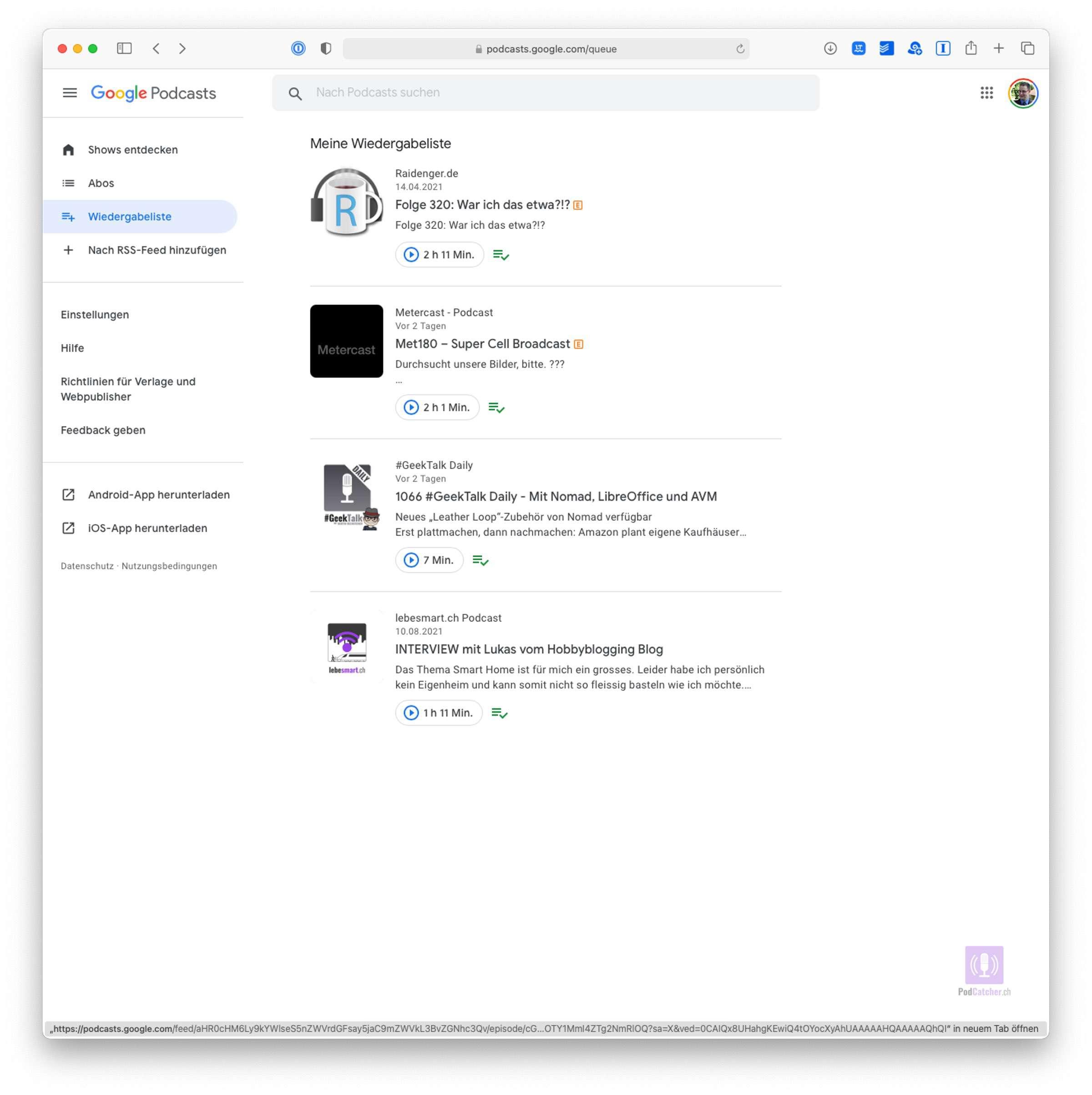 Wiedergabeliste in Google Podcasts neu auch im Web